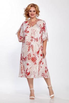 Платье LaKona 1221 бежево-красный