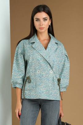 Куртка Viola Style 6036 голубой_с_желтым_принт