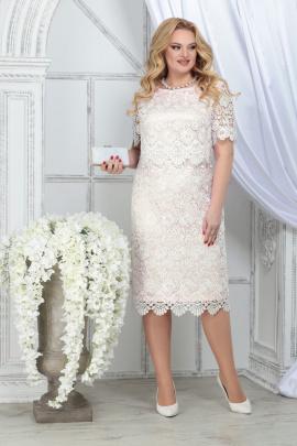 Платье Ninele 5843 молочный+пудра