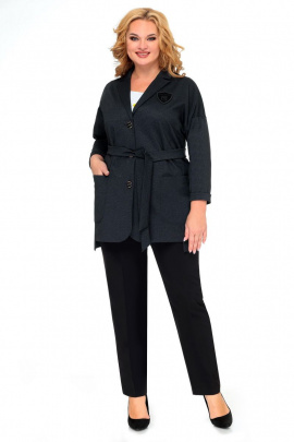 Женский костюм Мишель стиль 986 серо-черный
