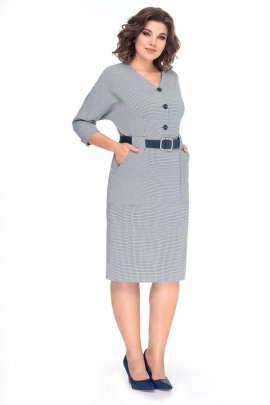 Платье Мишель стиль 979 серо-синий