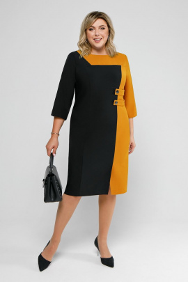 Платье Pretty 2039 черный+горчица