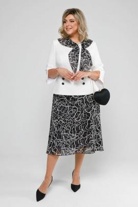 Платье Pretty 2036 молочный+черный+узор