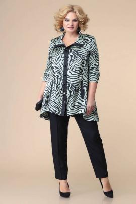 Брюки, Блуза Romanovich Style 2-2211 бирюза/черный