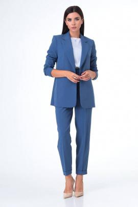Женский костюм T&N 7078 светло-синий+белый