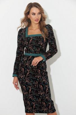 Платье SandyNa 130106 черный_цветы