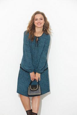 Платье SandyNa 130109 бирюзовый_горох