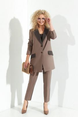 Женский костюм Euromoda 369 капучино+серый