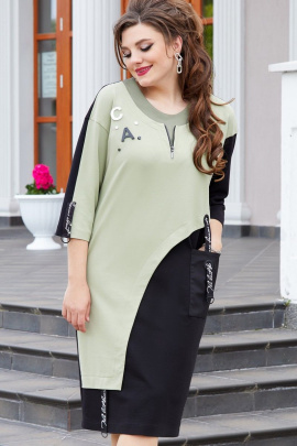 Платье Vittoria Queen 14523 черный-фисташка