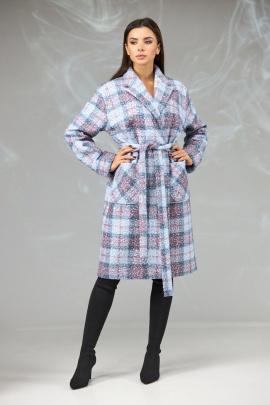 Пальто Angelina & Сompany 603 серо-розовый_клетка