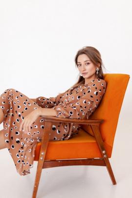 Платье KRASA 275-21 беж-пятнышки