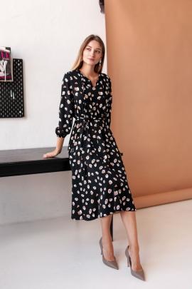 Платье KRASA 275-21 черный-пятнышки