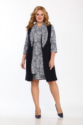 Платье, Жилет Vilena 746-1 узор+темно-синий