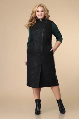 Платье, Жилет Romanovich Style 3-2212 черный\зеленый