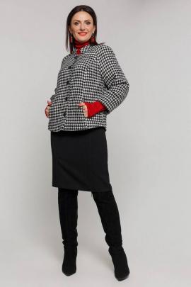 Пальто Дорофея 401 черный,белый
