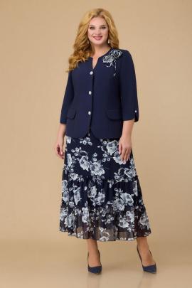 Юбка, Жакет Svetlana-Style 1702 синий+цветы