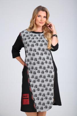 Платье SandyNa 130110 серо-черный