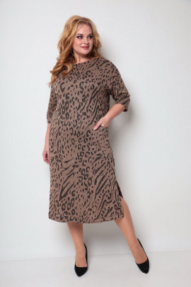 Платье Michel chic 2069 коричневый-принт