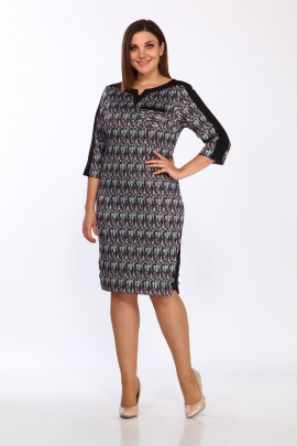 Платье Lady Style Classic 1123/6 синий-коричневый
