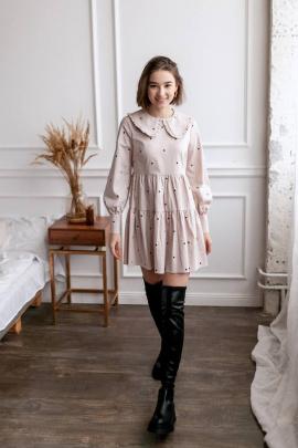 Платье KRASA 278-21 бежевый_в_горох