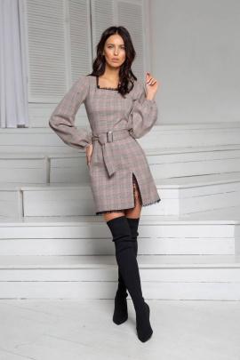 Платье DoMira 01-609 бежевый/коралл