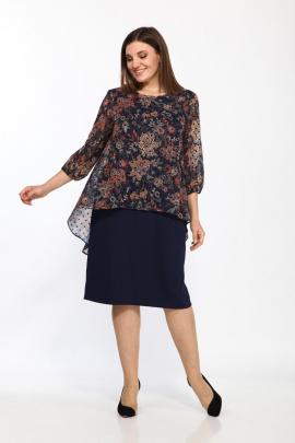 Платье Lady Style Classic 1343/5 темно-синий_бежевый