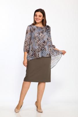 Платье Lady Style Classic 1343/6 хаки-голубой