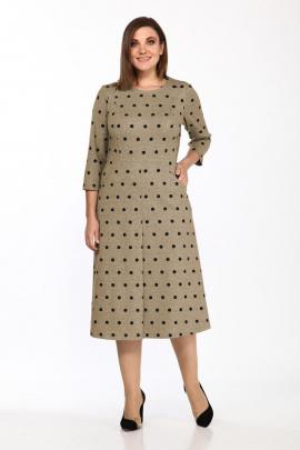 Платье Lady Style Classic 1857/5 бежевый-черный_горох