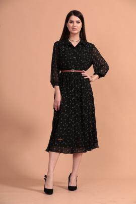 Платье Твой имидж 1442 черное_зеленые_цветы