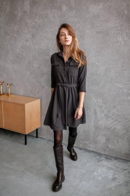 Платье KRASA 154-21 мини_коричневая_мелкая_клетка