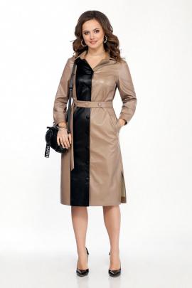 Платье TEZA 2051 бежевый-черный