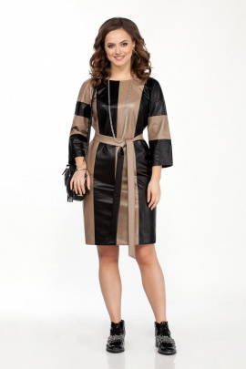 Платье TEZA 2059 бежевый-черный