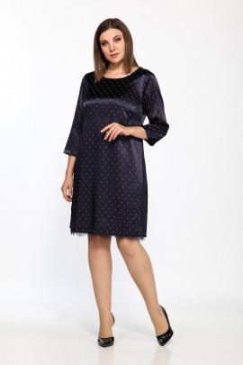 Платье Lady Style Classic 1458/3 темно-синий_беж_горох