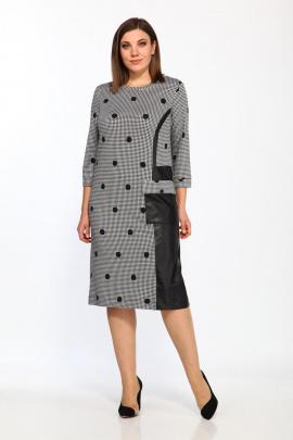 Платье Lady Style Classic 2197 серый-черный_горохи