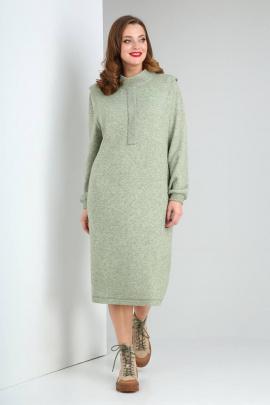 Платье Viola Style 0985 зеленый_меланж