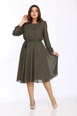 Платье Danaida 2068 хаки/беж_горошек