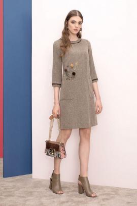 Платье Nelva 5897 бежевый+коричневый