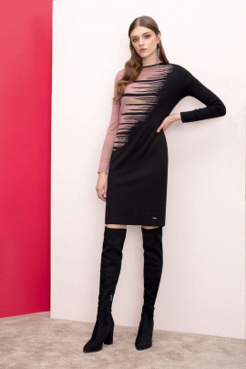 Платье Nelva 5899 черный+розовый