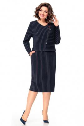 Платье Мишель стиль 1008 сине-терракотовый