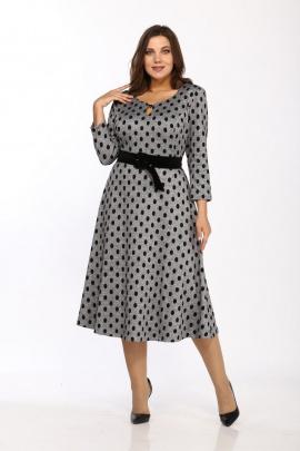 Платье Karina deLux М-9956 серый_горошек