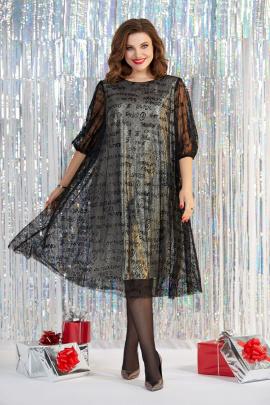 Платье Милора-стиль 959 золото+чёрная_сетка