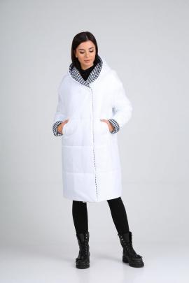 Пальто Diamant 1638 белый-гусиная_лапка