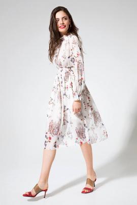 Платье LaVeLa L1946 белый/принт_цветы