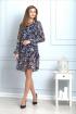 Платье Anelli 727 синий+цветы