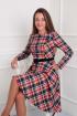 Платье VIA-Mod 376 коралл.клетка
