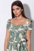 Платье,  Пояс LeNata 11115 зеленые-листья-на-бежевом