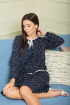 Платье SandyNa 13900 синий_горох