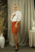 Платье Стильная леди М-157 белый/терракот