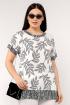 Блуза La rouge 6145 белый-(листья)