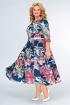 Платье Swallow 397 синий_принт/акварель